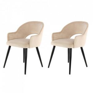 Set 2 scaune dining bej sampanie/negre din catifea si fier Jorie Kayoom
