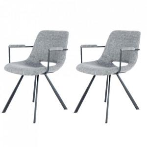 Set 2 scaune dining gri din in si metal Josephine Arms Kayoom