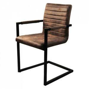 Set 2 scaune dining maro/negre din poliester si otel Kay Sit Moebel