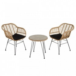 Set 2 scaune si masuta cafea din aluminiu si ratan pentru gradina Garden Santiago Pons