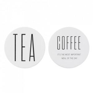 Set 2 stickere albe/negre din hartie si plastic Tea Bloomingville