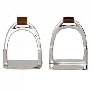 Set 2 suporturi pentru carti argintii din alama si piele Horse Shoe Eichholtz