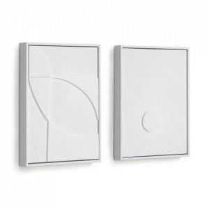 Set 2 tablouri albe din canvas si lemn de pin 32x42 cm Brunella Kave Home