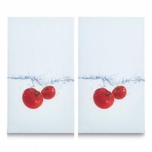 Set 2 tocatoare dreptunghiulare multicolore din sticla 30x52 cm Tomato Splash Zeller