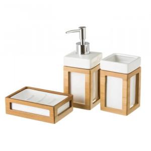 Set 3 accesorii din ceramica si lemn pentru baie Alan Unimasa