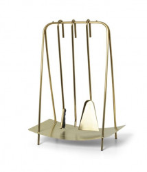 Set 3 accesorii semineu si suport din inox Port Brass Ferm Living