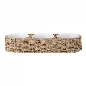 Set 3 boluri albe cu suport din ceramica si iarba de mare Riya Creative Collection
