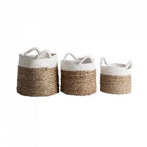 Set 3 cosuri de rufe maro/albe din rachita Kelley Vical Home