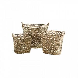 Set 3 cosuri maro din bambus si hartie Dany Madam Stoltz