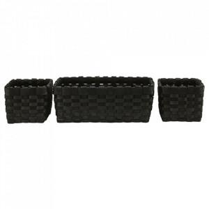 Set 3 cosuri negre din aschii de lemn Edition House Doctor