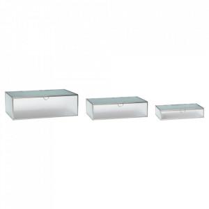 Set 3 cutii cu capac din metal si sticla pentru bijuterii Angela Hubsch