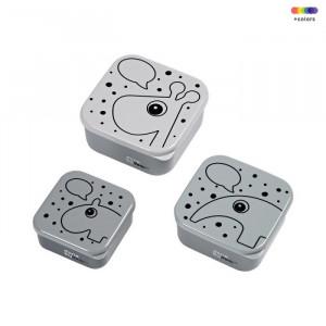 Set 3 cutii cu capac gri din polietilena si polipropilena pentru copii Grey Contour Done by Deer