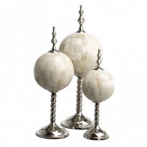 Set 3 decoratiuni albe/argintii din alama si fier Leonardo Eichholtz
