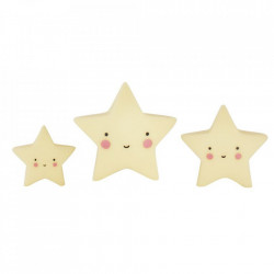 Set 3 decoratiuni galbene din PVC Stars A Little Lovely Company