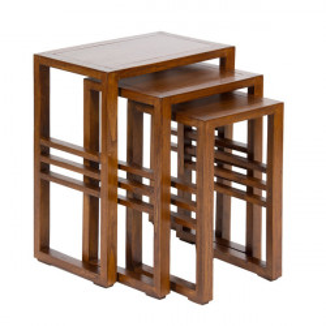 Set 3 masute maro din lemn mindi Nest Santiago Pons