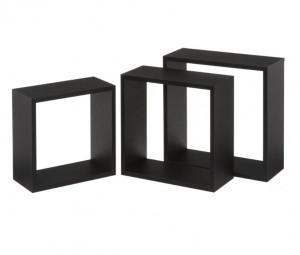 Set 3 rafturi negre din MDF Gim Big Black Unimasa