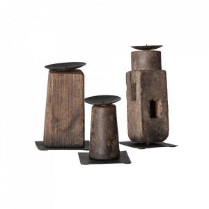 Set 3 suporturi lumanare maro din lemn Zwaia Vical Home