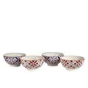 Set 4 boluri ceramica pictata manual Petal Pols Potten