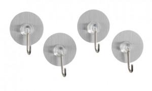 Set 4 cuiere argintii din plastic Static-Loc Nickel Hook Silver Wenko