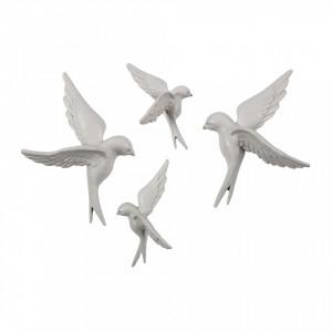 Set 4 decoratiuni albe din rasina si piatra Birds Be Pure Home