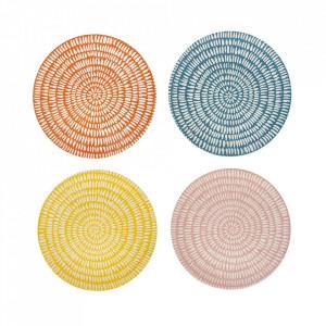 Set 4 farfurii multicolore din portelan 21 cm Seeds Pols Potten