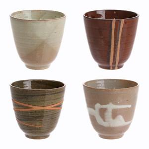 Set 4 pahare ceramice Japanese Yunomi HK Living