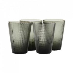 Set 4 pahare gri din sticla 9x12 cm Milo House Doctor
