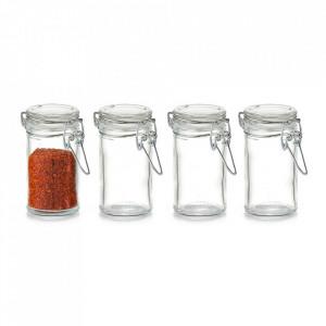 Set 4 recipiente transparente cu capac din sticla pentru condimente 100 ml Trente Zeller