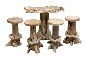 Set 4 scaune bar si masa bar din lemn tec Root Versmissen