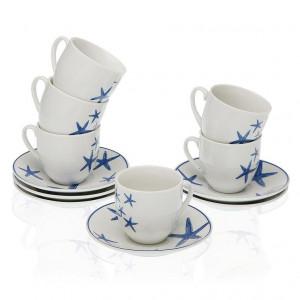 Set 6 cesti cu farfurioare albe/albastre din portelan 5,5x5,7 cm Bluesea Coffee Versa Home