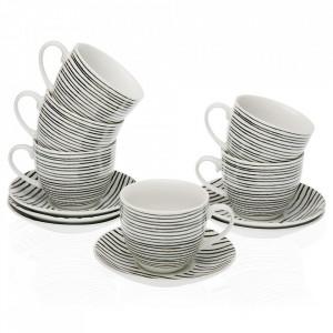 Set 6 cesti cu farfurioare albe/negre din portelan 7x8,3 cm Blackline Tea Versa Home