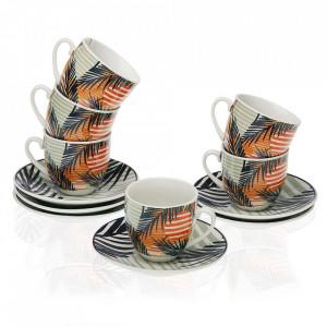Set 6 cesti cu farfurioare multicolore din portelan 5,5x5,7 cm Saona Coffee Versa Home