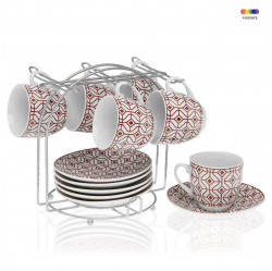 Set 6 cesti cu farfurioare si suport din portelan si metal Coffee Red Versa Home