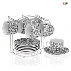 Set 6 cesti cu farfurioare si suport din portelan si metal Coffee Black Versa Home
