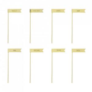 Set 8 etichete aurii din fier pentru gradina Herbs Bloomingville