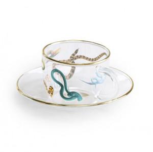 Set ceasca si farfurioara din sticla Snakes Toiletpaper Seletti