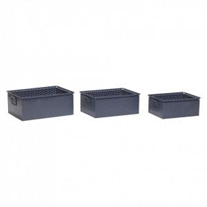 Set cutii gri cu gauri din metal Hubsch