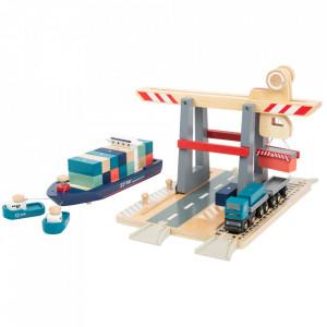 Set de joaca 29 piese din lemn Container Terminal Small Foot