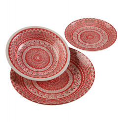 Set de masa 18 piese din ceramica Traditional Dinner Red Versa Home