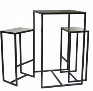 Set masa cu 2 scaune pentru bar negre din fier si aluminiu Antique Pols Potten