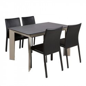Set masa dining extensibila cu 4 scaune din otel si aluminiu Lot Santiago Pons