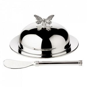 Set untiera si cutit din metal argintat Butterfly Edzard