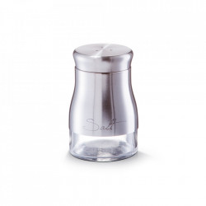 Solnita argintie din sticla si inox 150 ml Salt Zeller