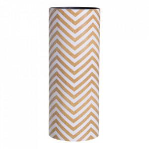 Suport alb/maro din lemn si PVC pentru umbrela 50 cm Millia Stripe Ixia