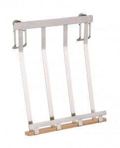 Suport argintiu/maro din nichel si lemn pentru tableta Premium Tablet Holder Wenko