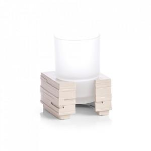 Suport bej/transparent din polirasina si sticla pentru periuta dinti 8x11,5 cm Slate Tumbler Zeller