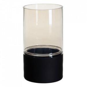 Suport lumanare neagra/gri din sticla 30 cm Cauroy Ixia