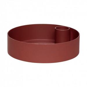 Suport lumanare rosu bordo din metal 3 cm Jenkins Hubsch