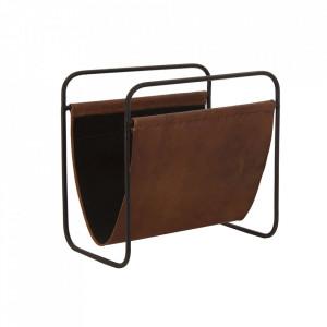 Suport maro/negru din piele si fier pentru reviste Mold Vical Home