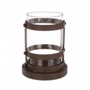 Suport maro/transparent din fier si sticla pentru lumanare 17 cm Cylinder Burnished Bizzotto